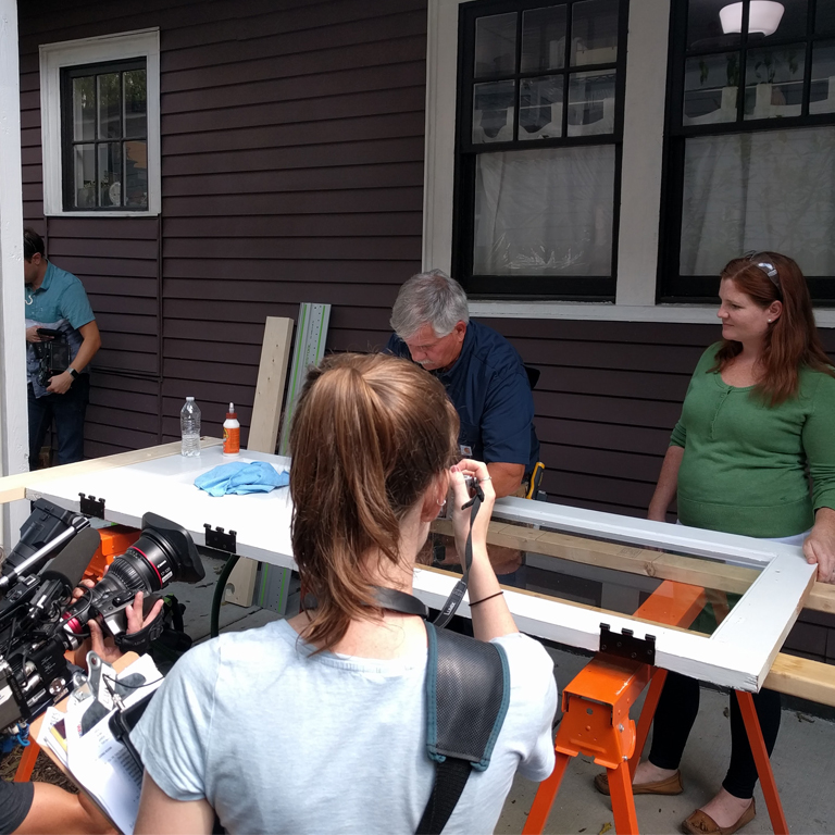 Tom Silva and Elayne Crain film for Ask This Old House
